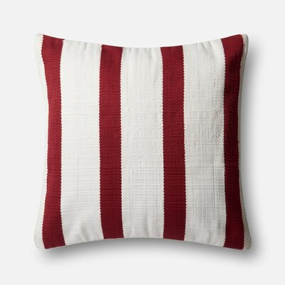 Indoor/Outdoor Pillow Cover Color: Red/Ivory