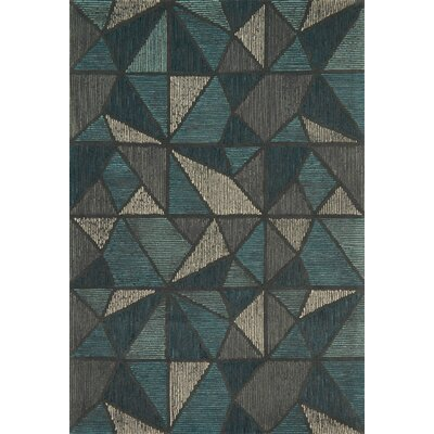 Wingman Hand-Tufted Gray/Blue Area Rug Rug Size: Rectangle 36 x 56