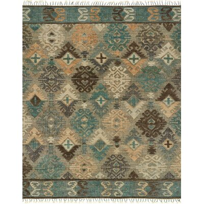 Owen Hand-Woven Gray/Blue Area Rug Rug Size: 36 x 56