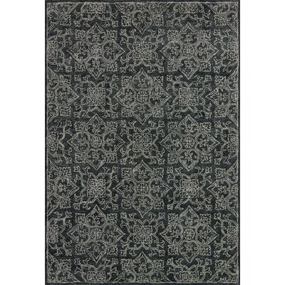 Filigree Hand-Tufted Black Area Rug Rug Size: 36 x 56