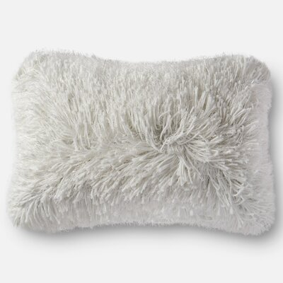 Shag Lumbar Pillow Color: White