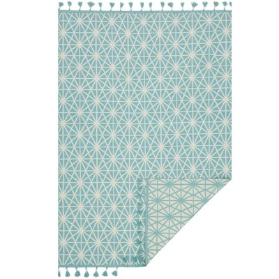 Pangburn Hand-Woven Ivory/Aqua Area Rug Rug Size: Rectangle 5 x 76