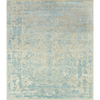 Pearl Hand-Knotted Heather Gray/Aqua Area Rug Rug Size: 56 x 86