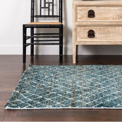 Palumbo Hand-Knotted Blue Area Rug Rug Size: Rectangle 56 x 86