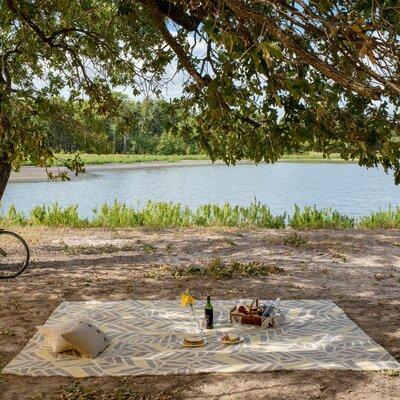 Tropez Hand-Hooked Gray/Yellow Indoor/Outdoor Area Rug Rug Size: 5 x 76