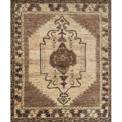 Zacarias Hand-Knotted Mocha/Beige Area Rug Rug Size: Rectangle 79 x 99