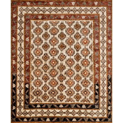 Zacarias Hand-Knotted Beige Area Rug Rug Size: Rectangle 96 x 136