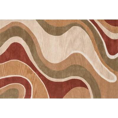 Willhoite Hand-Tufted Beige/Rust Area Rug Rug Size: Rectangle 5 x 76