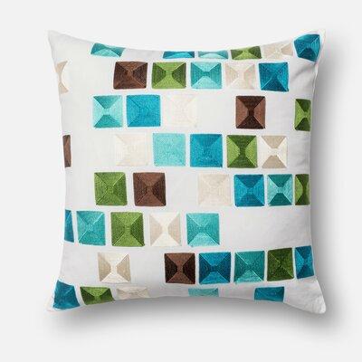 100% Cotton Throw Pillow Color: Blue/Multi