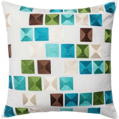 100% Cotton Pillow Cover Color: Blue/Multi