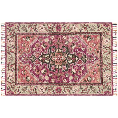Rana Hand-Hooked Pink Area Rug Rug Size: Rectangle 36 x 56