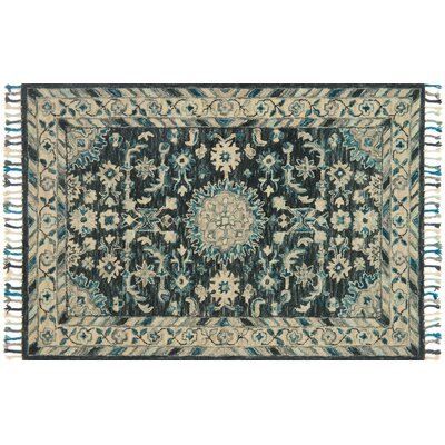 Rana Hand-Hooked Teal/Gray Area Rug Rug Size: Rectangle 36 x 56