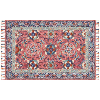 Rana Hand-Hooked Pink/Blue Area Rug Rug Size: Rectangle 5 x 76