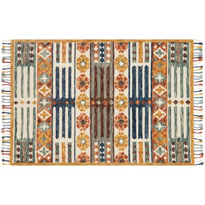 Rana Hand-Hooked Yellow Area Rug Rug Size: Rectangle 36 x 56