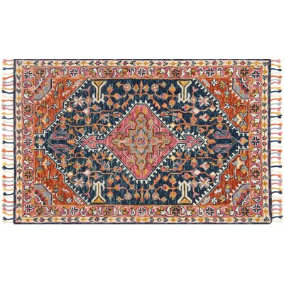 Rana Hand-Hooked Navy/Pink Area Rug Rug Size: Rectangle 5 x 76