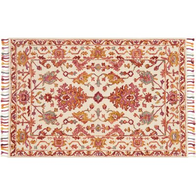 Rana Pink/Orange Area Rug Rug Size: 36 x 56