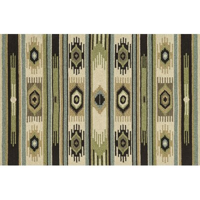 Taos Hand-Hooked Green/Ivory Area Rug Rug Size: Rectangle 76 x 96
