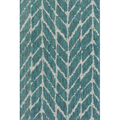 Isle Teal Indoor/Outdoor Area Rug Rug Size: 92 x 121