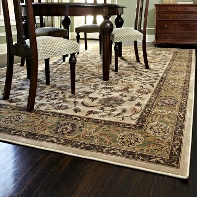 Stanley Hand-Knotted Beige/Green Area Rug Rug Size: 52 x 77