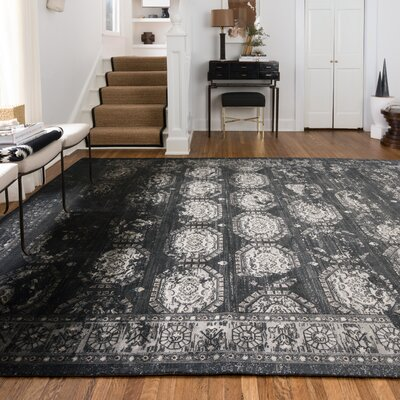 Durdham Park Black/Charcoal Area Rug Rug Size: Rectangle 5 x 76