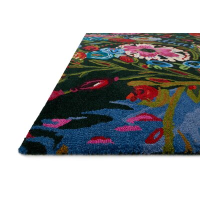 Effiom Hand-Hooked Forest/Fuchsia Area Rug Rug Size: Rectangle 5 x 76