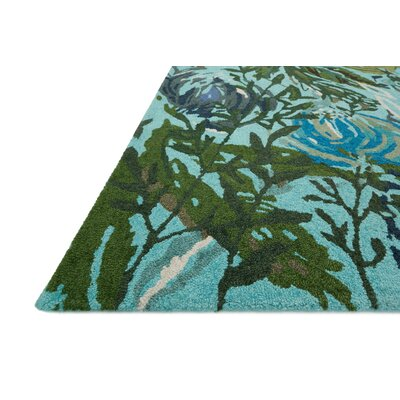 Wild Bloom Hand-Hooked Aqua/Green Area Rug Rug Size: Rectangle 5 x 76
