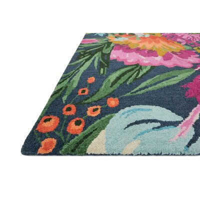 Wild Bloom Hand-Hooked Midnight/Plum Area Rug Rug Size: 36 x 56