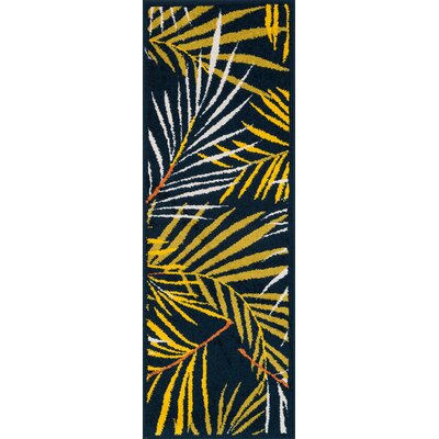 Laudenslager Navy/Yellow Area Rug Rug Size: Rectangle 18 x 5