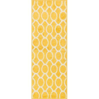 Laudenslager Lemon/Ivory Area Rug Rug Size: Rectangle 18 x 5