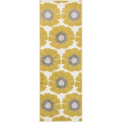 Terrace Ivory/Citron Area Rug Rug Size: Rectangle 18 x 5