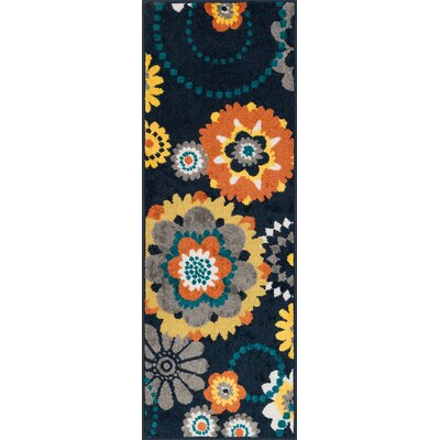 Laudenslager Navy/Gray Area Rug Rug Size: Rectangle 18 x 5