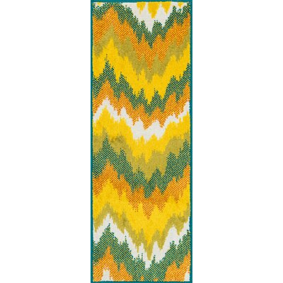 Terrace Yellow/Green Area Rug Rug Size: Rectangle 18 x 5