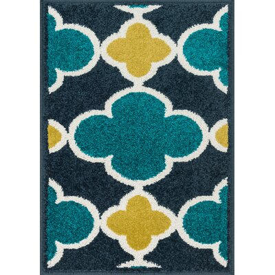 Laudenslager Navy/Teal Area Rug Rug Size: Rectangle 25 x 39