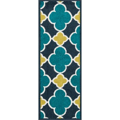 Laudenslager Navy/Teal Area Rug Rug Size: Rectangle 18 x 5