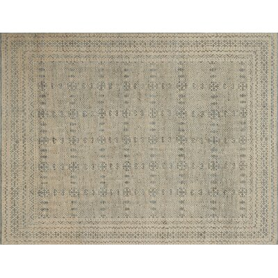 Collins Hand-Knotted Blue/Natural Area Rug Rug Size: Rectangle 2' x 3'