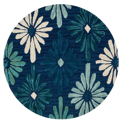 Gabriella Hand-Woven Blue Area Rug Rug Size: Round 3