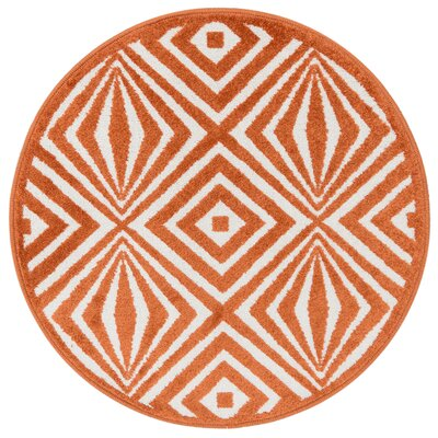 Terrace Ivory/Orange Area Rug Rug Size: Round 3