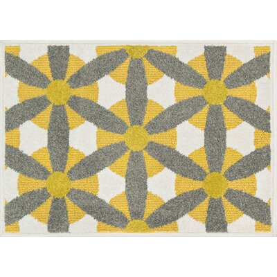 Laudenslager Yellow/Gray Indoor/Outdoor Area Rug Rug Size: Round 3