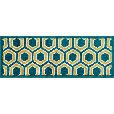 Terrace Green/Yellow Area Rug Rug Size: Rectangle 18 x 5