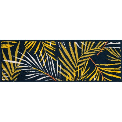 Terrace Navy/Yellow Area Rug Rug Size: 18 x 5