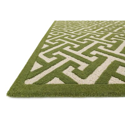 Brighton Hand-Tufted Green/Ivory Area Rug Rug Size: 5 x 76