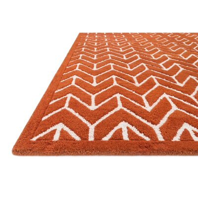 Dandridge Hand-Tufted Tangerine Area Rug Rug Size: Rectangle 5 x 76