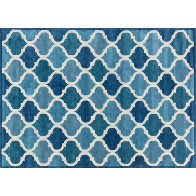 Brighton Hand-Tufted Cobalt Blue/Light Blue Area Rug Rug Size: Rectangle 93 x 13