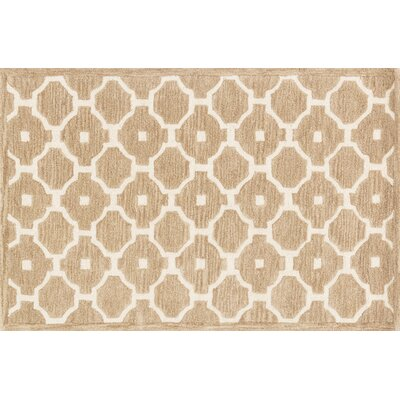 Dandridge Hand-Hooked Beige Area Rug Rug Size: Rectangle 36 x 56