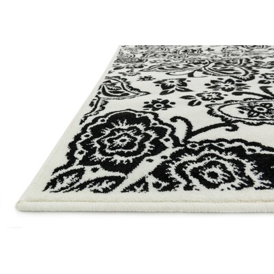 Stacy Ivory/Black Area Rug Rug Size: 27 x 311