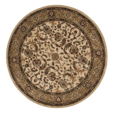 Stanley Hand-Knotted Beige/Green Area Rug Rug Size: Round 77