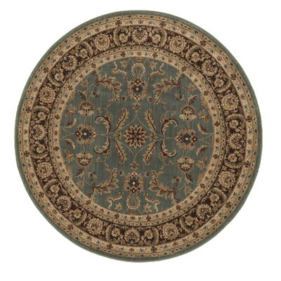 Stanley Hand-Knotted Blue/Brown Area Rug Rug Size: Round 52
