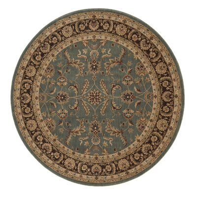 Stanley Hand-Knotted Blue/Brown Area Rug Rug Size: Round 7'7