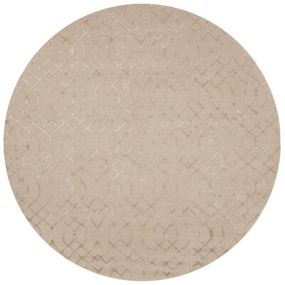 Kirkbride Taupe Area Rug Rug Size: Round 76
