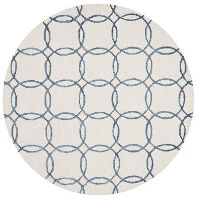 Panache Ivory/Blue Area Rug Rug Size: Round 76